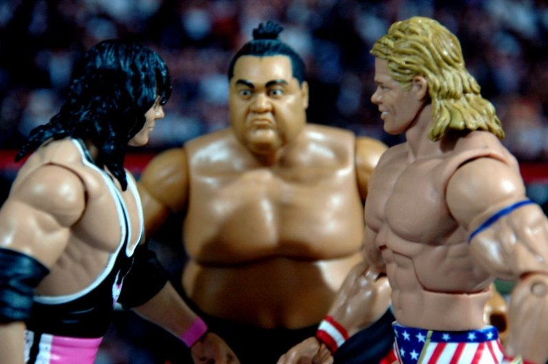 Lex Luger WWE Mattel Elite 30 figure -facing off with Bret Hart and Yokozuna