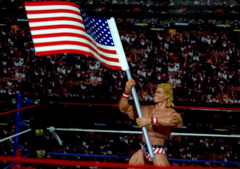 Lex Luger WWE Mattel Elite 30 figure - holding flag up