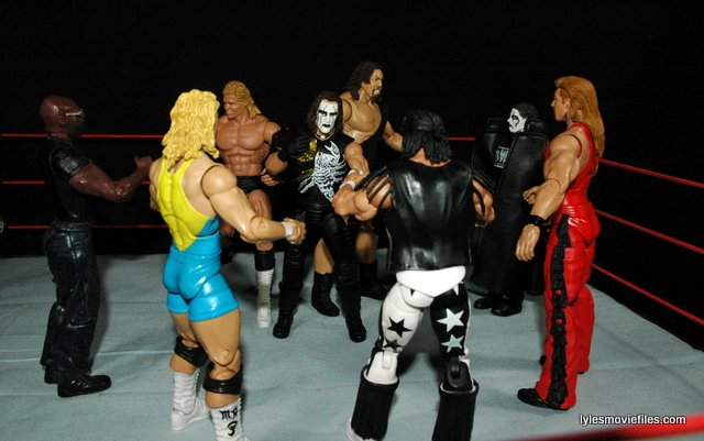 Sting figure WWE Mattel Defining Moments - facing off nWo with Giant and Luger
