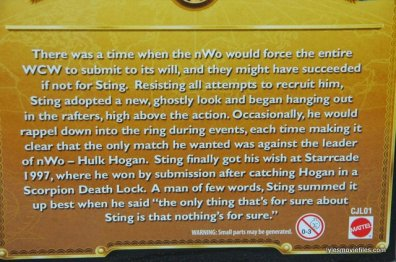 Sting figure WWE Mattel Defining Moments - package bio
