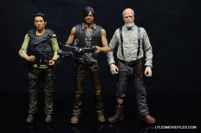 Daryl Dixon Walking Dead deluxe figure -scale shot with Glenn and Herschel