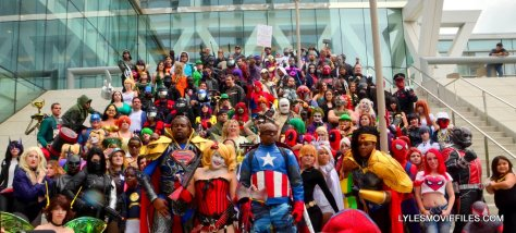 Baltimore Comic Con 2015 cosplay -widescreen shot of cosplayers on steps in Baltimore