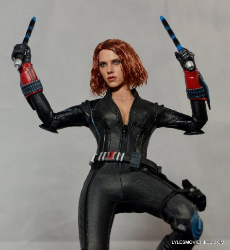 Hot Toys Avengers Age of Ultron Black Widow - in air with batons