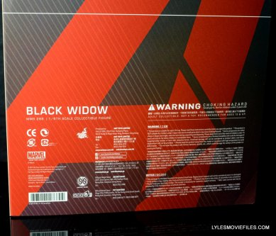 Hot Toys Avengers Age of Ultron Black Widow - rear package info