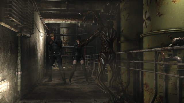 Resident Evil 0 - Albert Wesker and Rebecca Chambers shooting