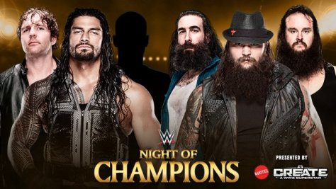 WWE Night of Champions - Dean Ambrose and Roman Reigns vs Wyatt Family