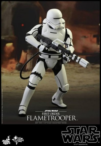 Hot Toys Star Wars Force Awakens First Order Flametrooper -charging into battle