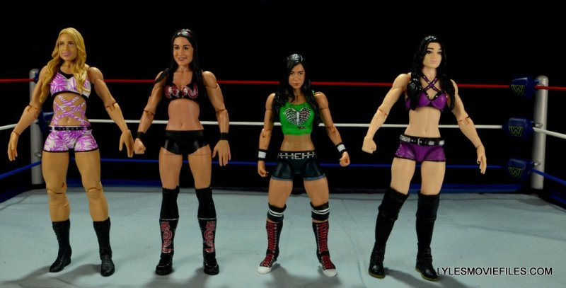WWE Mattel Basic AJ Lee - scale shot with Emma, Brie Bella and Paige 2