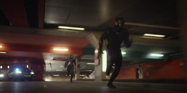 """""""Captain America Civil War"""" - Captain America chases Black Panther"""