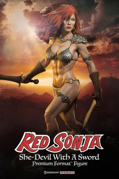 Red Sonja - She Devil with a Sword premium format -with sunset backdrop