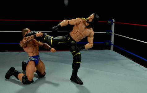Seth Rollins Mattel exclusive -side kick to Orton