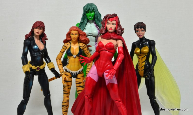 Marvel Legends Scarlet Witch figure review - A-Force Black Widow, Tigra, She-Hulk and Wasp