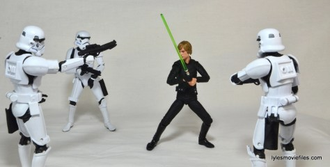SH Figuarts Luke Skywalker figure review - surrounded Stormtroopers