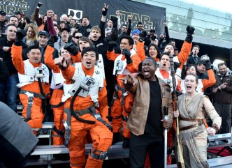"HOLLYWOOD, CA - DECEMBER 14: Fans attend the World Premiere of ""Star Wars: The Force Awakens"" at the Dolby, El Capitan, and TCL Theatres on December 14, 2015 in Hollywood, California. (Photo by Alberto E. Rodriguez/Getty Images for Disney)"
