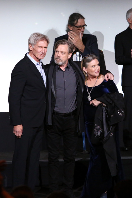 "HOLLYWOOD, CA - DECEMBER 14:  (L-R) Actors Harrison Ford, Mark Hamill and Carrie Fisher attend the World Premiere of ""Star Wars: The Force Awakens"" at the Dolby, El Capitan, and TCL Theatres on December 14, 2015 in Hollywood, California.  (Photo by Jesse Grant/Getty Images for Disney) *** Local Caption *** Harrison Ford;Mark Hamill;Carrie Fisher"