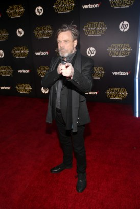 "HOLLYWOOD, CA - DECEMBER 14: Actor Mark Hamill attends the World Premiere of ""Star Wars: The Force Awakens"" at the Dolby, El Capitan, and TCL Theatres on December 14, 2015 in Hollywood, California. (Photo by Jesse Grant/Getty Images for Disney) *** Local Caption *** Mark Hamill"