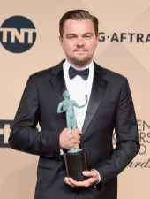 LOS ANGELES, CA - JANUARY 30: Actor Leonardo DiCaprio, winner of the Male Actor in a Leading Role award for 'The Revenant' poses in the press room during The 22nd Annual Screen Actors Guild Awards at The Shrine Auditorium on January 30, 2016 in Los Angeles, California. 25650_015 (Photo by Jason Merritt/Getty Images for Turner) *** Local Caption *** Leonardo DiCaprio
