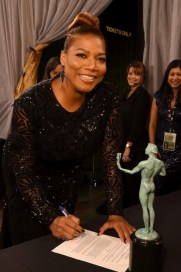 LOS ANGELES, CA - JANUARY 30: Actress/singer Queen Latifah, winner of Best Actress in a limited series, poses backstage at the The 22nd Annual Screen Actors Guild Awards at The Shrine Auditorium on January 30, 2016 in Los Angeles, California. 25650_014 (Photo by Larry Busacca/Getty Images for Turner) *** Local Caption *** Queen Latifah