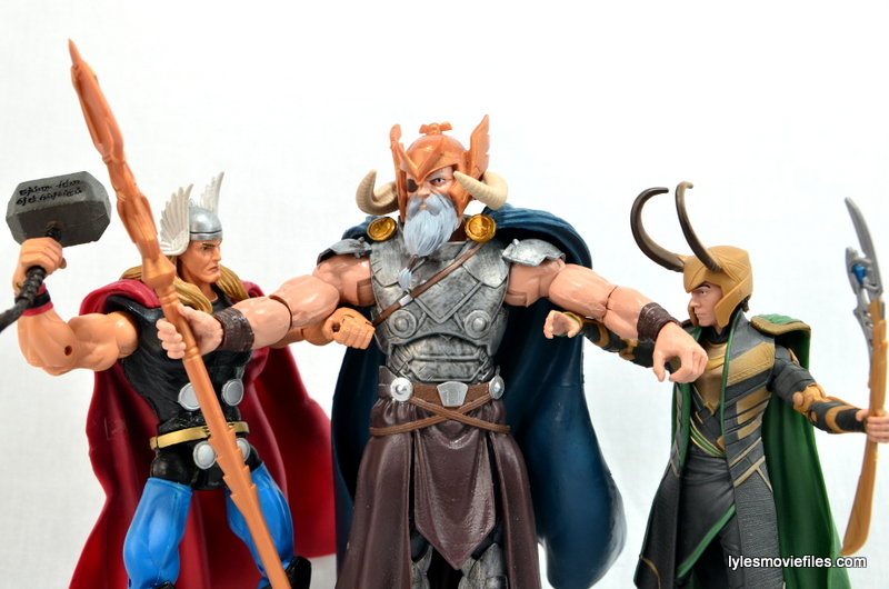 Marvel Legends Odin and King Thor review - Odin stopping Loki vs Thor