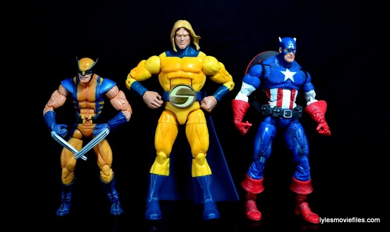 Marvel Legends Sentry figure review - scale with Wolverine and Captain America