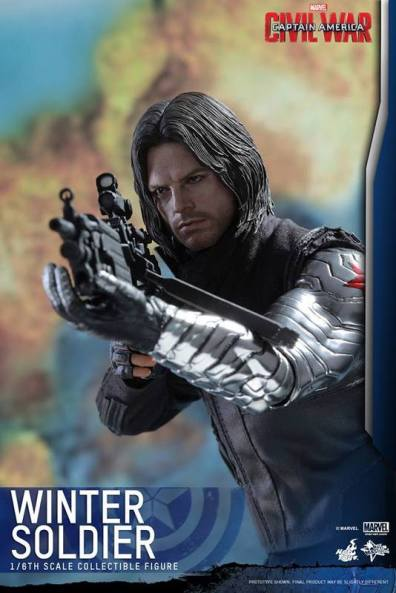 Hot Toys Captain America Civil War Winter Soldier figure -aiming side