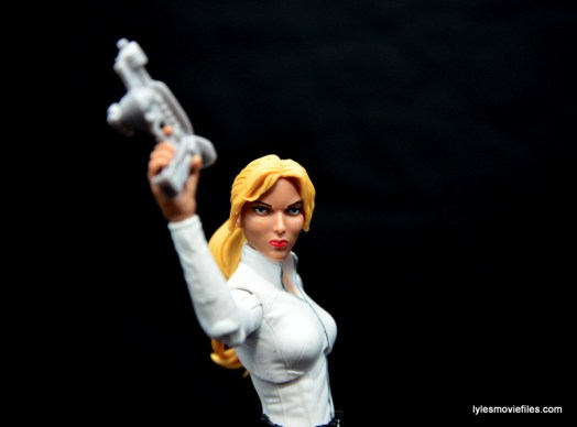 Marvel Legends Sharon Carter figure review - raising gun up