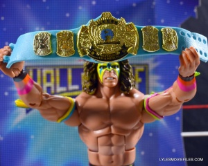 Ultimate Warrior Hall of Fame figure -WWF blue title close-up