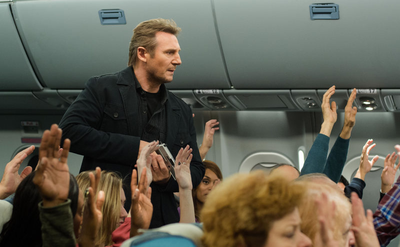 non-stop review - liam neeson walking