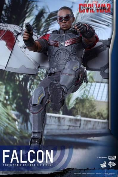 Hot Toys Captain America Civil War Falcon figure -flying back