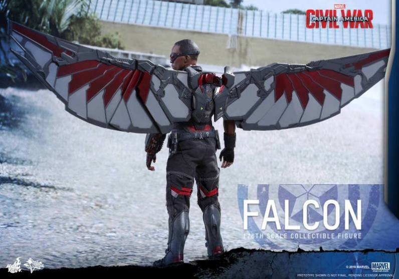 Hot Toys Captain America Civil War Falcon figure - wings spread rear