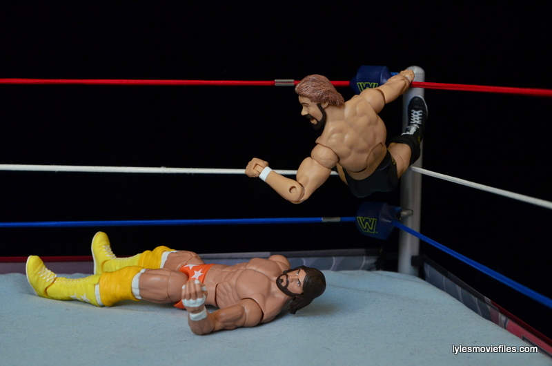 Mattel Ted DiBiase Hall of Fame figure review - backwards elbow drop on Macho Man