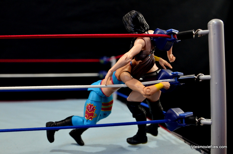 WWE Bayley figure review - spearing Paige