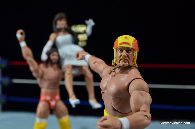 Wrestlemania 4 - Hogan celebrates with Macho Man and Elizabeth