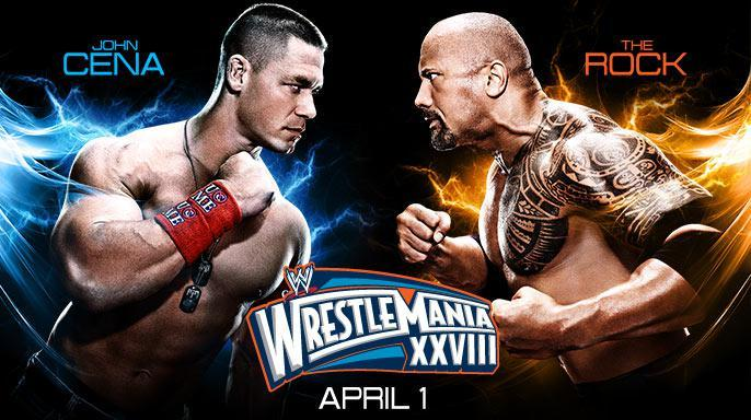 wrestlemania 28 - john cena vs the rock