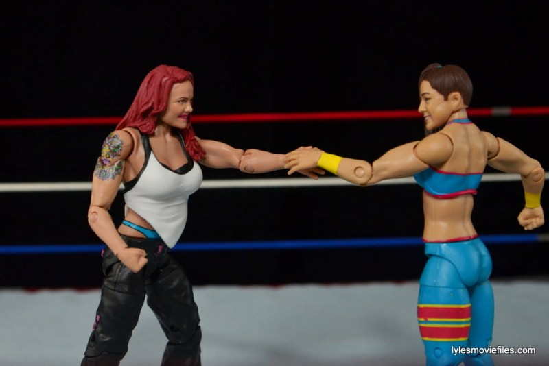 WWE Elite 41 Lita figure -handshake with Bayley