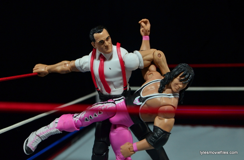 WWE IRS Mattel Elite figure review -abdominal stretch to Bret Hart