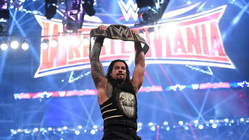 wrestlemania 32 - roman reigns with WWE title