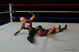 WWE Natalya figure review - legdrop to Sasha Banks
