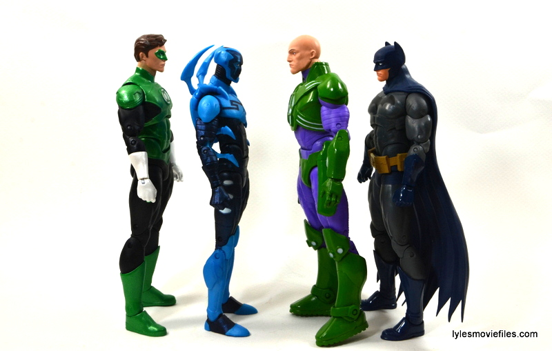 DC Icons Blue Beetle figure review -scale with Green Lantern, Lex Luthor and Batman