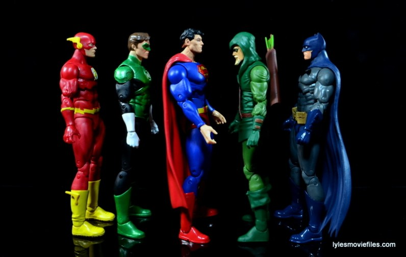 DC Icons Superman figure review -scale with Flash, Green Lantern, Green Arrow and Batman
