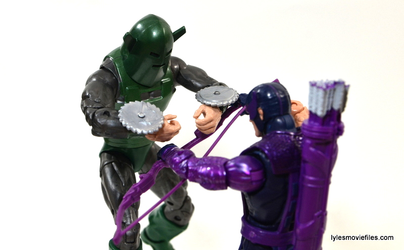 Marvel Legends Whirlwind figure review -cutting through to Hawkeye