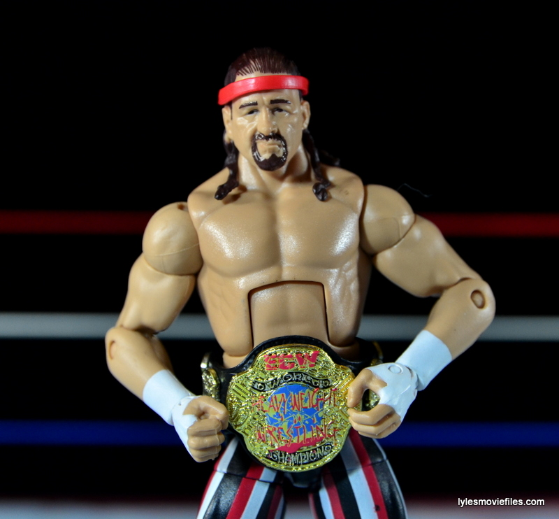 WWE Elite 41 Terry Funk figure review - ECW title closeup