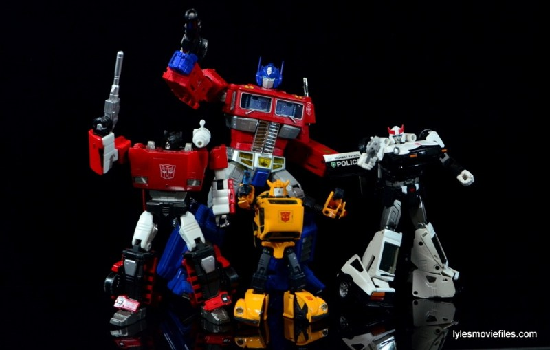 Transformers Masterpiece Bumblebee review - Sideswipe, Optimus Prime, Bumblebee and Prowl posing