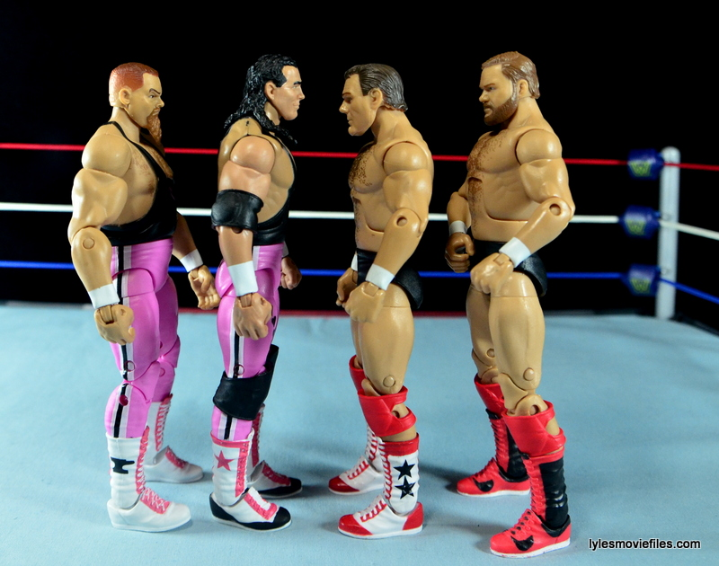 WWE Elite 43 Hart Foundation figures - scale with Brain Busters