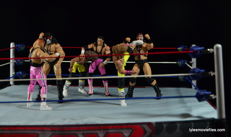 WWE Elite 43 Hart Foundation figures - three way dance vs Rockers and Demolition