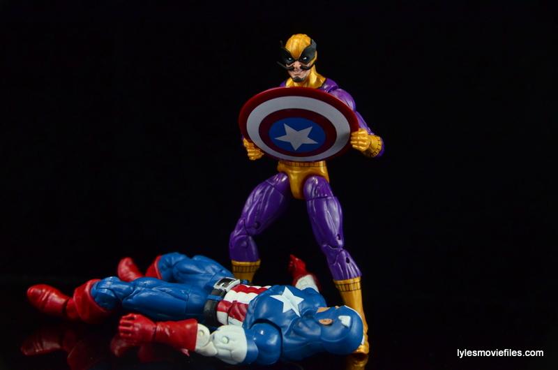 Marvel Legends Batroc figure review - standing over Captain America