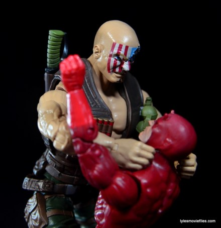 Marvel Legends Nuke review - choking out Daredevil right side