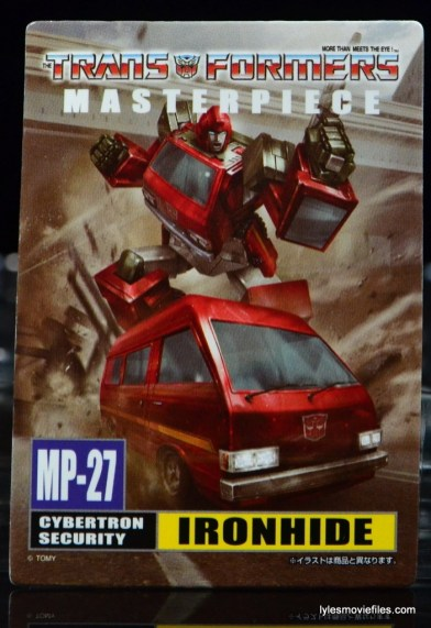 Transformers Masterpiece Ironhide figure review -card front