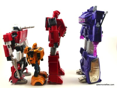 Transformers Masterpiece Ironhide figure review - scale with Sideswipe, Bumblebee and Shockwave