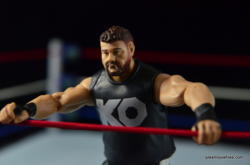 WWE Elite 43 Kevin Owens figure review - hanging off the ropes